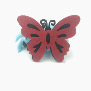10pcs red thick felt butterfly patches diy crafts clothing appliques