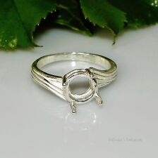 9mm Round Swirl Offset Sterling Silver Pre-Notched RING Setting Sz7.5