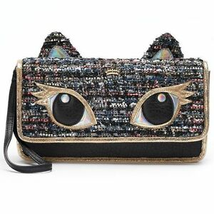 Juicy-Couture-Womens-Cat-Clutch-Design-Sparkly-Tweed-BlK-Multi-Color-Wrist-Strap