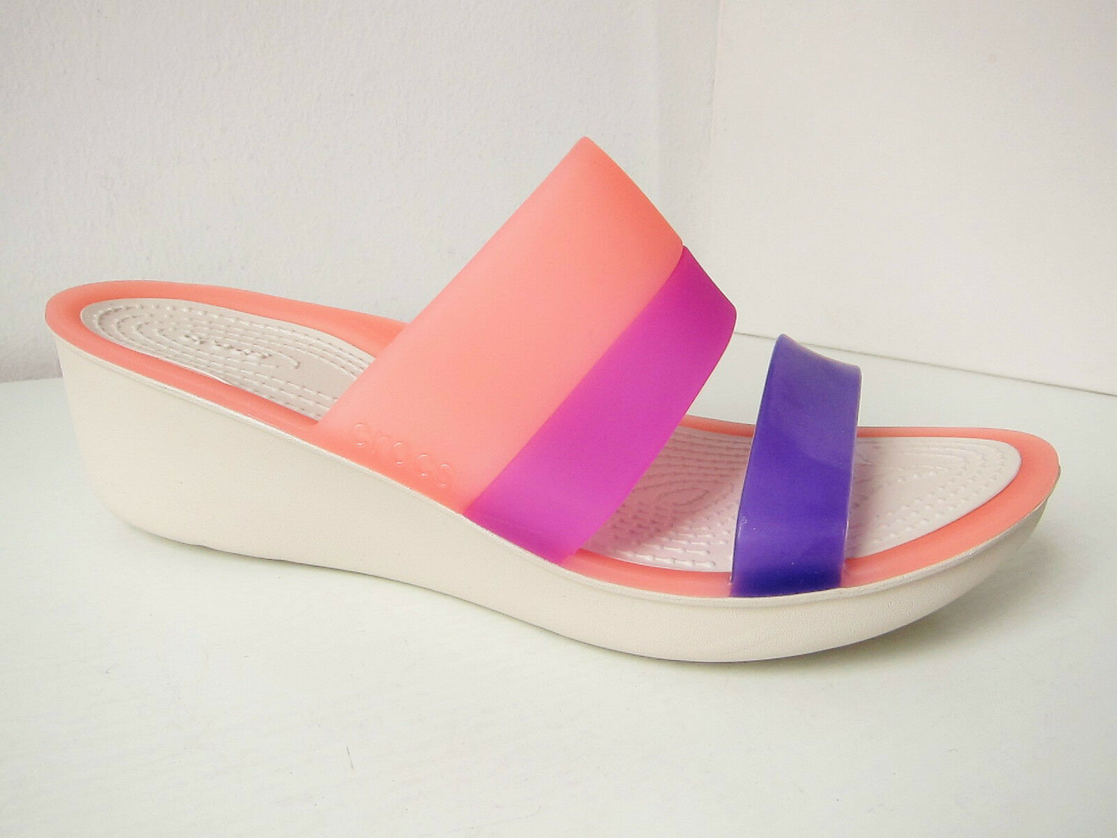 Crocs colorblock wedge sandalia rosa pink lila W 6 - 36 37 sandals Shoes Melon