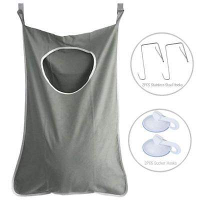 Door Hanging Laundry Washing Bag Foldable Clothes Hamper Wall Suction Organiser