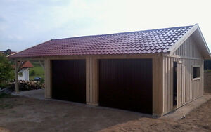 doppelgarage holzgarage mit satteldach fertiggarage mit carport 9m x 6m ebay. Black Bedroom Furniture Sets. Home Design Ideas