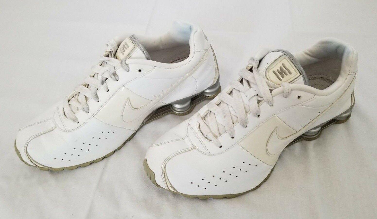 Mens Size 12 White Metallic Silver Nike Shox Classic II Running Shoes  343900-111
