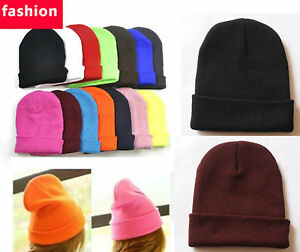 Unisex-Beanie-Knit-Ski-Cap-Hip-Hop-solid-Colour-Winter-Warm-Unisex-Wool-Hat-SHU