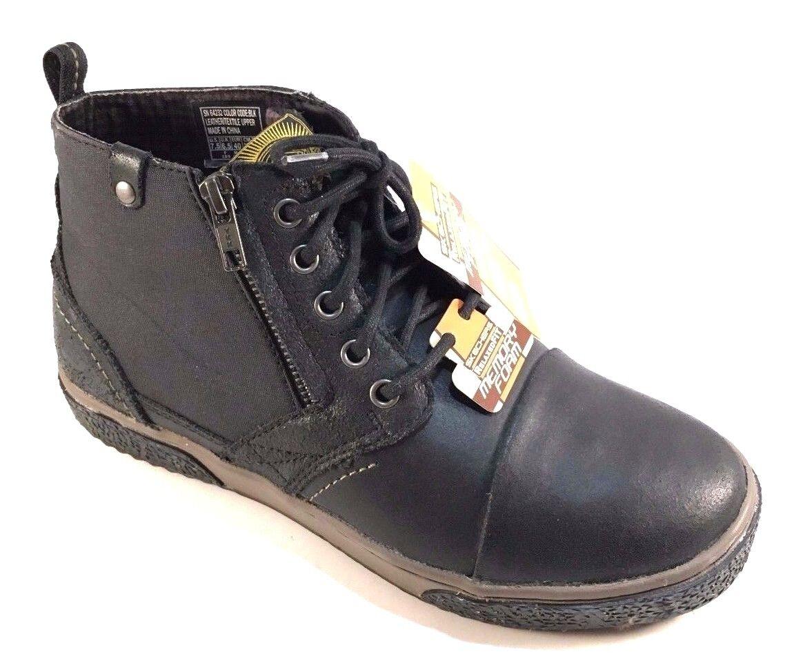 La espuma de la memoria de los hombres sk32 de cuero negro de sk32 hombres encaje hasta zapatillas botines cómodos a153b9