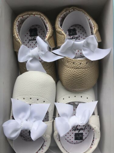 Gold And White Angel Baby Shoes Baby Girl Size 12-18 Month