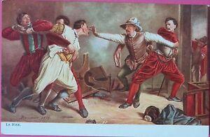 1910-Raphel-Tuck-amp-Sons-Artist-signed-Picture-Postcards-La-Rixe-Meissonier-PPC