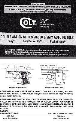 Colt Double Action Series 90-380 /& 9MM Auto Pistols Manual