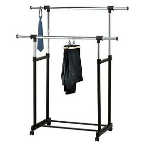Heavy-Duty-Adjustable-Rolling-Laundry-Drying-Rack-Telescopic-Double-Rail