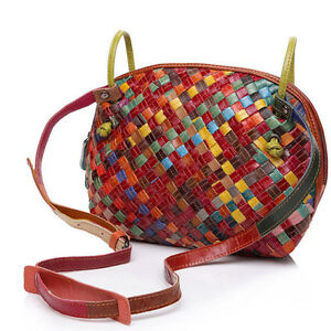 Hand-woven-Genuine-Leather-Women-039-s-Shell-Handbag-Tote-Purse-Single-Shoulder-Bag