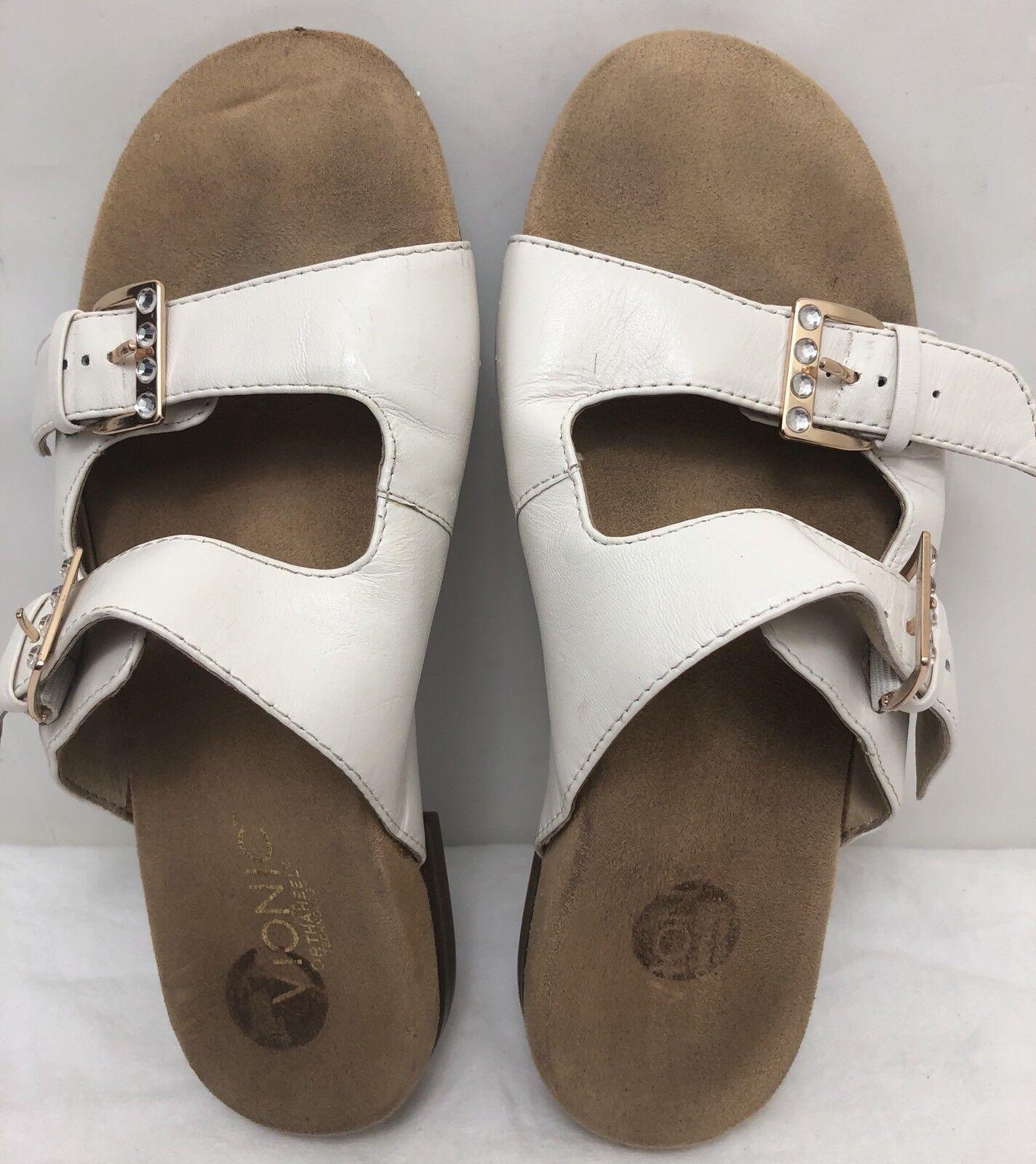 Womens VIONIC 341CZARINA White Leather Straps Sandals Slides SIZE 7