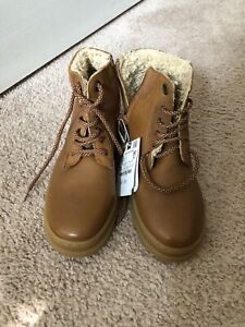 ZARA Boys Leather Lace up Ankle Boots Size 3.5 US