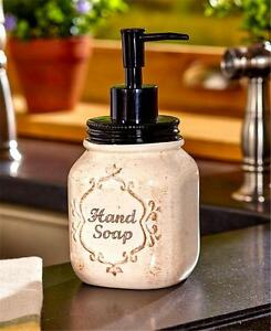 charming spa bathroom accessories | COUNTRY KITCHEN OR BATH MASON JAR PUMP SOAP DISPENSER ...