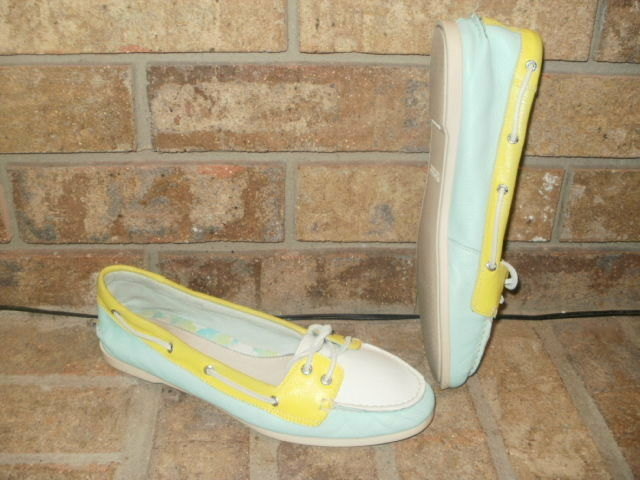 Sperry Top-Sider 2 Eye Boat shoes  bluee-Yellow-White 9 M 982648 Nice