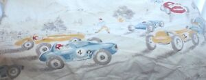 1950-039-s-Race-Car-Flat-Sheet-Vintage-light-color-Country-Scene-Twin-Size-Child-Bed