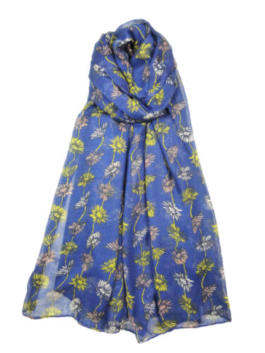 Ladies Womens Flower Poppy Daisy Scarf Pretty Floral Teal Blue White Mustard