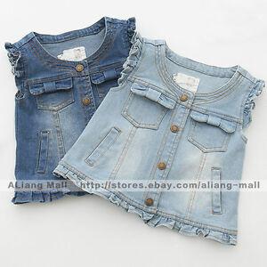 594d9fd9873bc Image is loading Girls-Baby-Denim-Vest-Sleeveless-Clothing-Kids-Cotton-