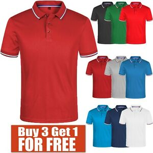 Men-039-s-Polo-Shirt-Dri-Fit-Golf-Sports-Cotton-T-Shirt-Jersey-Short-Sleeve-S-M-L-XL