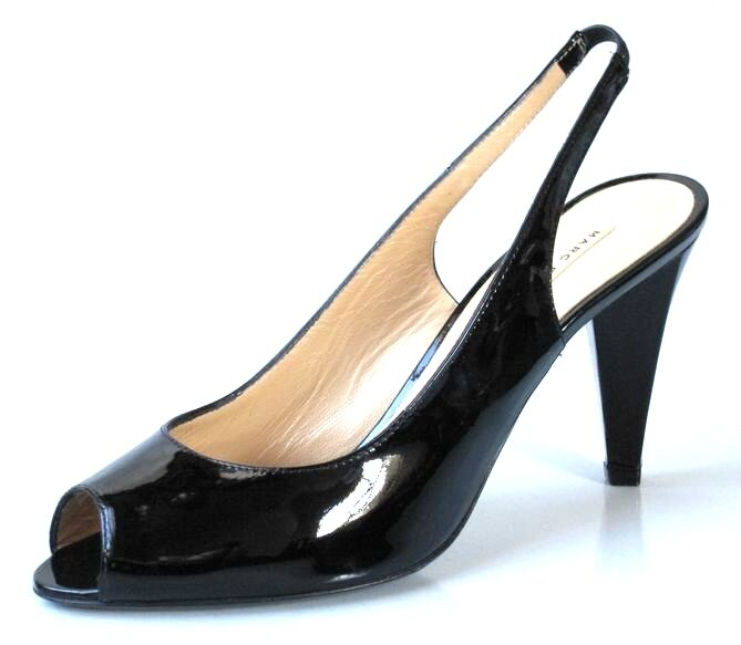 New MARC JACOBS peep-toe noir slingbacks slingbacks slingbacks heels chaussures 38.5 US 8.5 8 fbeccf