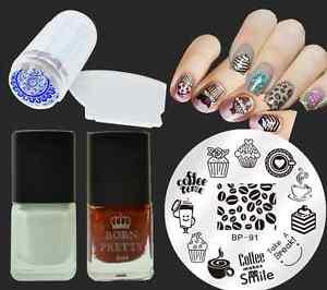 5pcsset Cake Coffee Nail Art Stamp Plates Stamping Polish Stamper