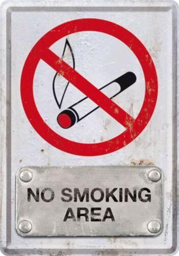 Nostalgic Art Metal Postcard No Smoking Area Non-Smoking Nichraucherzone