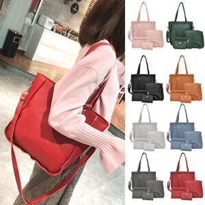 4pcs-Set-Women-PU-Leather-Tassel-Tote-Shoulder-Handbag-Clutch-Card-Crossbody-Bag