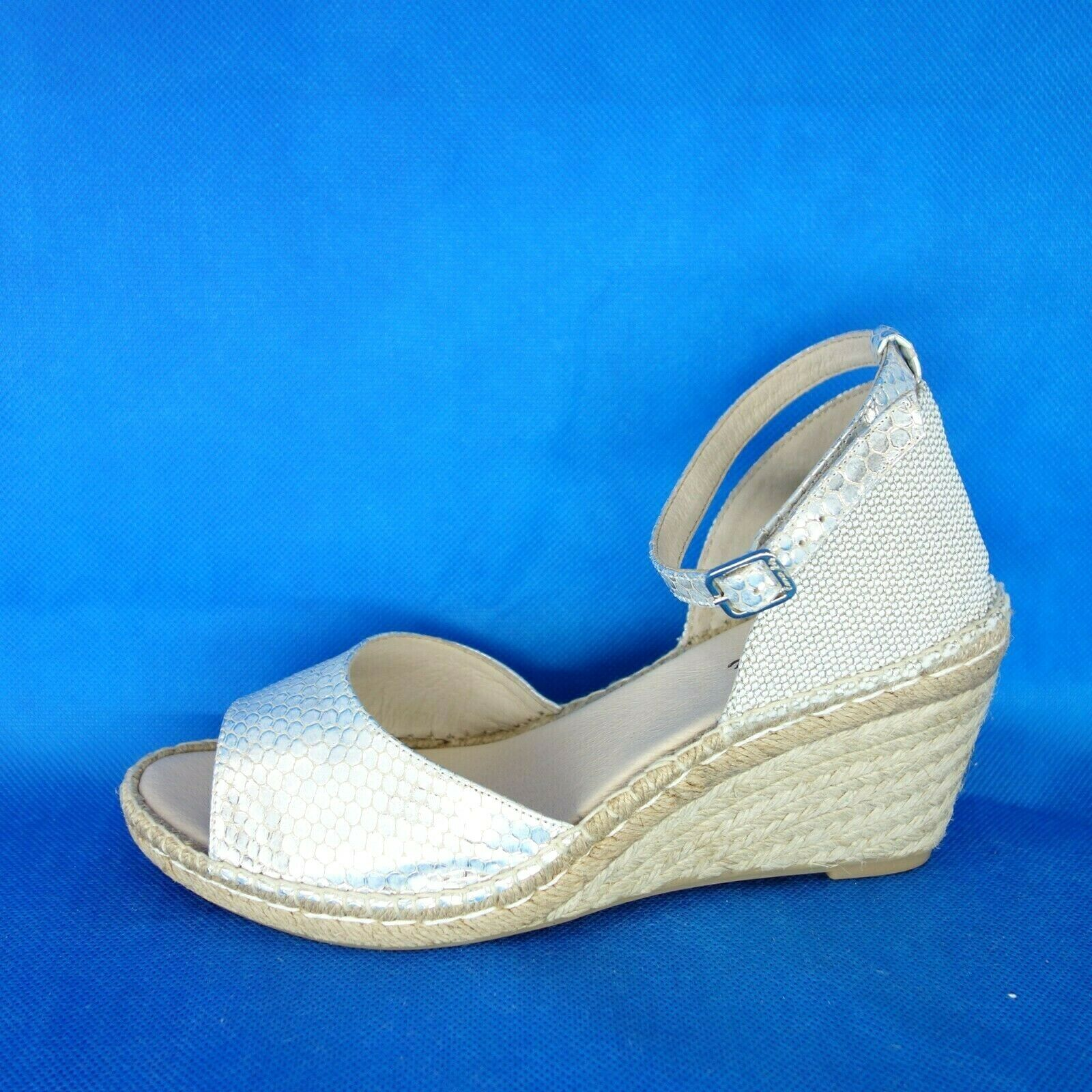 Carmen Saiz Ladies Espadrilles Sandals Wedge Greco silver 37 41 Leather Np 99 New