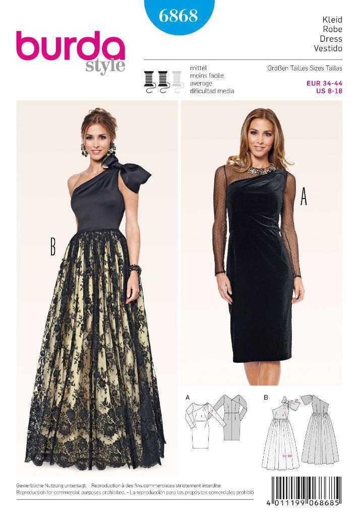 Schnittmuster Burda 6868 Kleid Gr. 34-44 | eBay