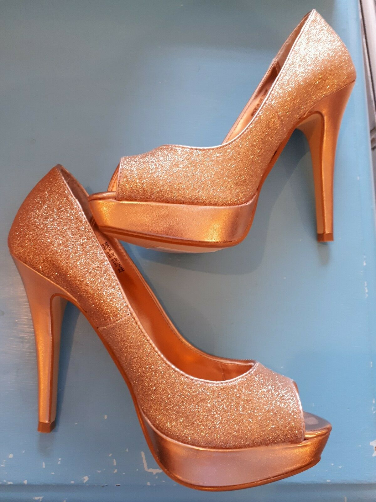 Debenhams Red Herring NUDE GLITTER PEEP TOE PLATFORM HEELS SHOES SIZE 5 BNWOB