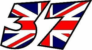 x3 ENGLISH FLAG RACE NUMBERS DECALS STICKERS GRAPHICS YOUR NUMBER