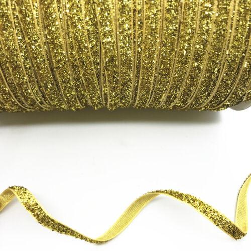 5 yards 6mm Sparkle Glitter Velvet Ribbon Headband Clips Bow hair decoration #26