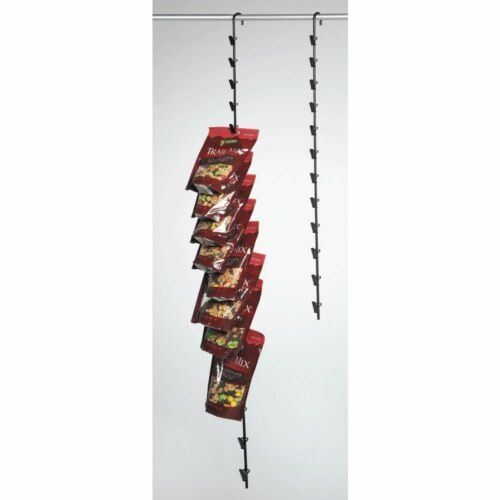 """47/"""" L Hanging Potato Chip Rack With 16 Clips Espresso Metal"""