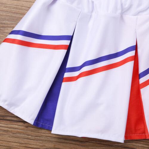Girls Cheerleader Uniform School Kids Costume Outfits Fancy Dress up Costume