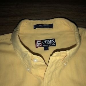 Mens-L-Short-Sleeve-Shirt-Vtg-Button-Down-Yellow-CRL-Chaps-Ralph-Lauren-Crest