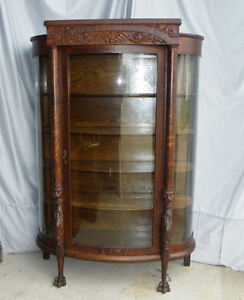 Antique Oak China or Curio Cabinet – Lion heads and claw feet | eBay