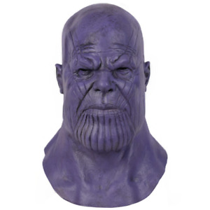 Fancy Dress Halloween Thanos Villain Head Mask Latex Cosplay Party Costume