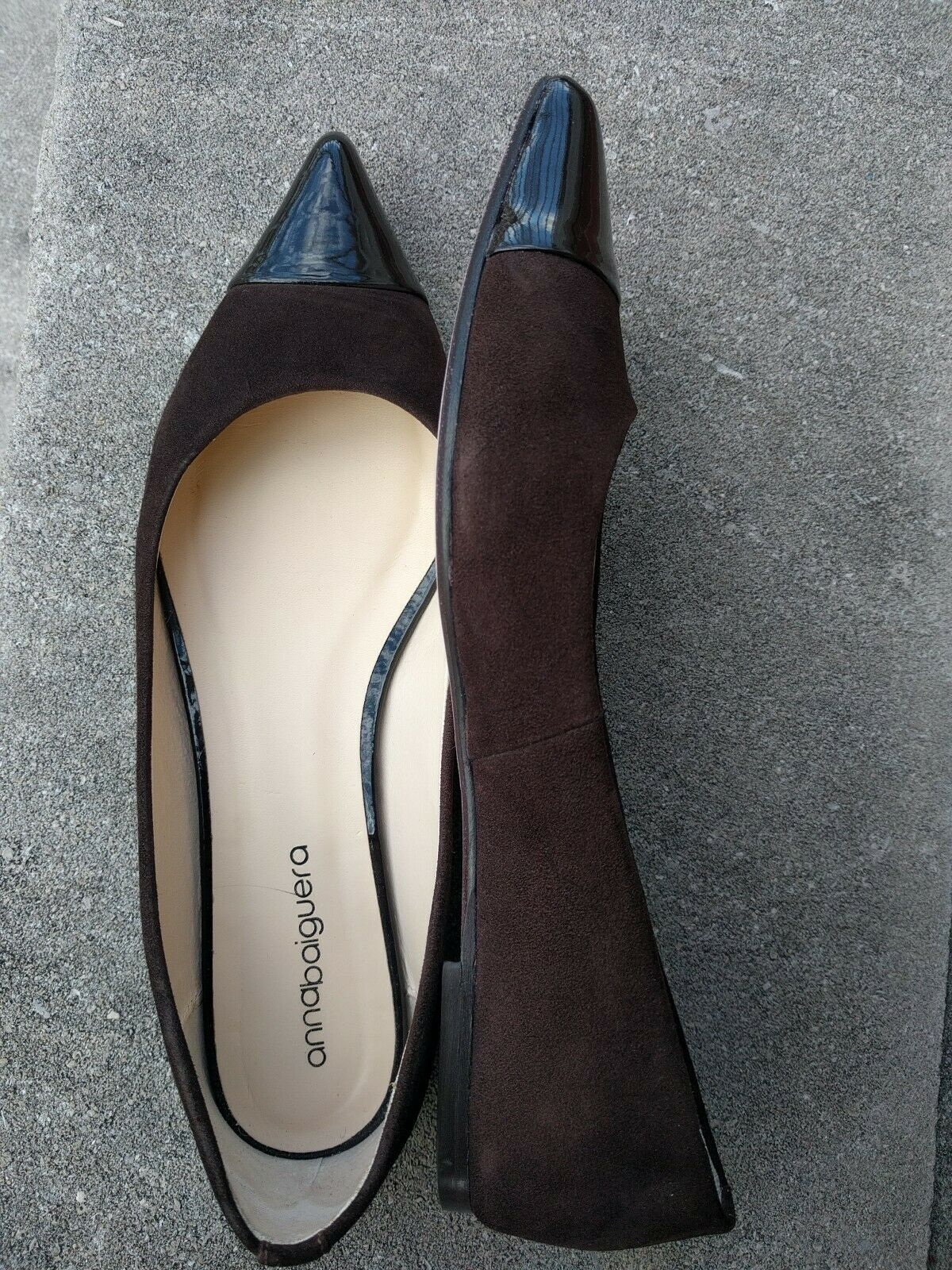 Anna Baiguera Brown Suede and and and patent Leather Flats 41 EU  10 US f30c6c