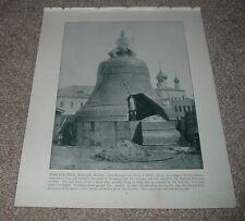 1892 Antique Print TSAR KOLOKOL CZAR OF BELLS MOSCOW RUSSIA Man Standing Inside