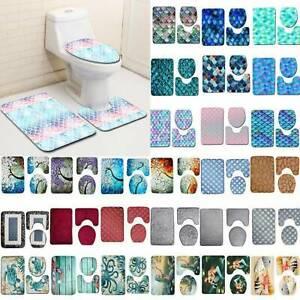 3PCS Bathroom Non Slip Ocean Style Pedestal Rug Lid Toilet Cover Bath Mat Set