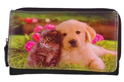 Damen Leder Hundekatzen drucken Brieftasche Frauen Kartenhalter