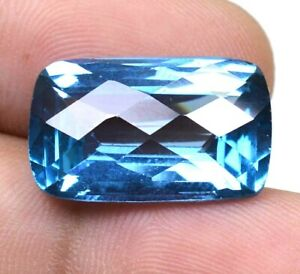 AAA Brazilian 20.40 Ct Natural Blue Topaz Cushion Loose Gemstone Certified F0879