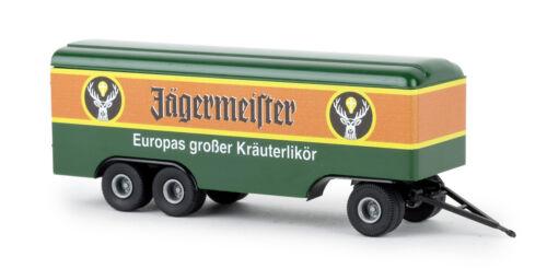Jägermeister Brekina 55293 Anhänger 3achs Koffer Auto Modell 1:87 H0