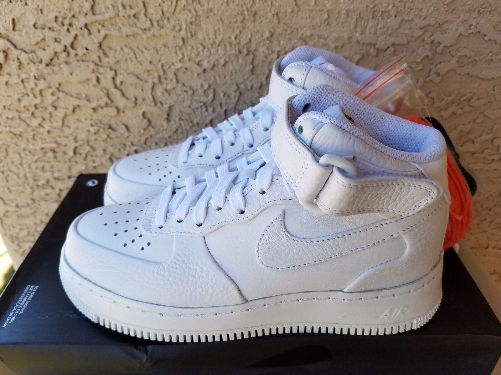 Nike Air Force 1 Mid CMFT SP x NikeLab Triple White Leather 718153-118 Women 5.5