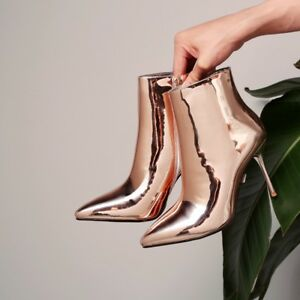 FASHION-Women-Ankle-Boots-Shinny-Heels-Boots-Champagne-Silver-Shoes-Woman-Size-9