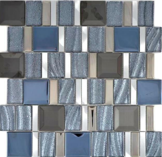 Aluminium Mosaik Glasmosaik silber grau Wand Küche Bad Sauna 88-0017  10Matten
