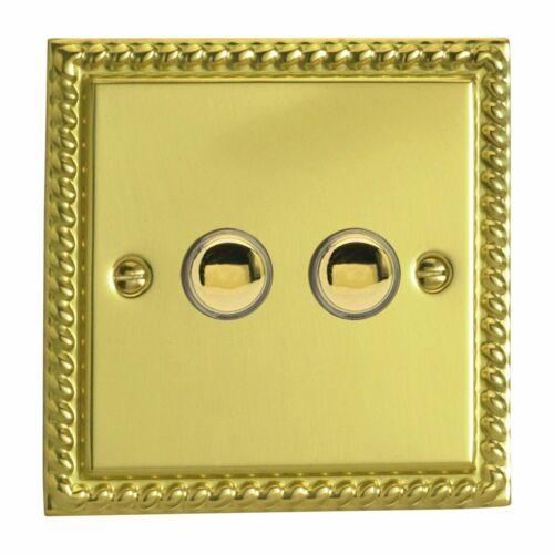 Varilight XGM2 Georgian Polished Brass 2 Gang 6A 1W Push Momentary Switch