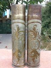 Paire Obus artisanat des tranchées Trench Art Poilu 1914 1915 1916 1917 1918 WW2