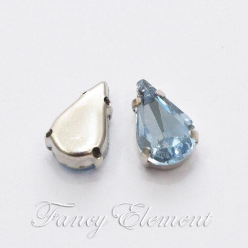 8x13mm Luz de lágrima de cristal azul zafiro cristal estrás perlas de Costura Coser en