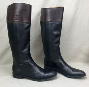 Authentic-GUCCI-Tall-Riding-Boots-Flat-Black-Brown-Leather-Size-8-Classic