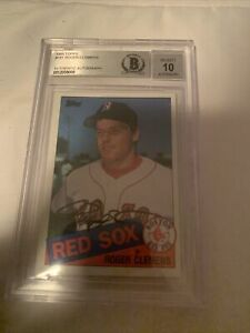 1985-Topps-Roger-Clemens-ROOKIE-RC-Beckett-Auto-10-181-Yankees-Red-Sox